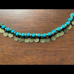 Chico's long turquoise & medallion charm necklace